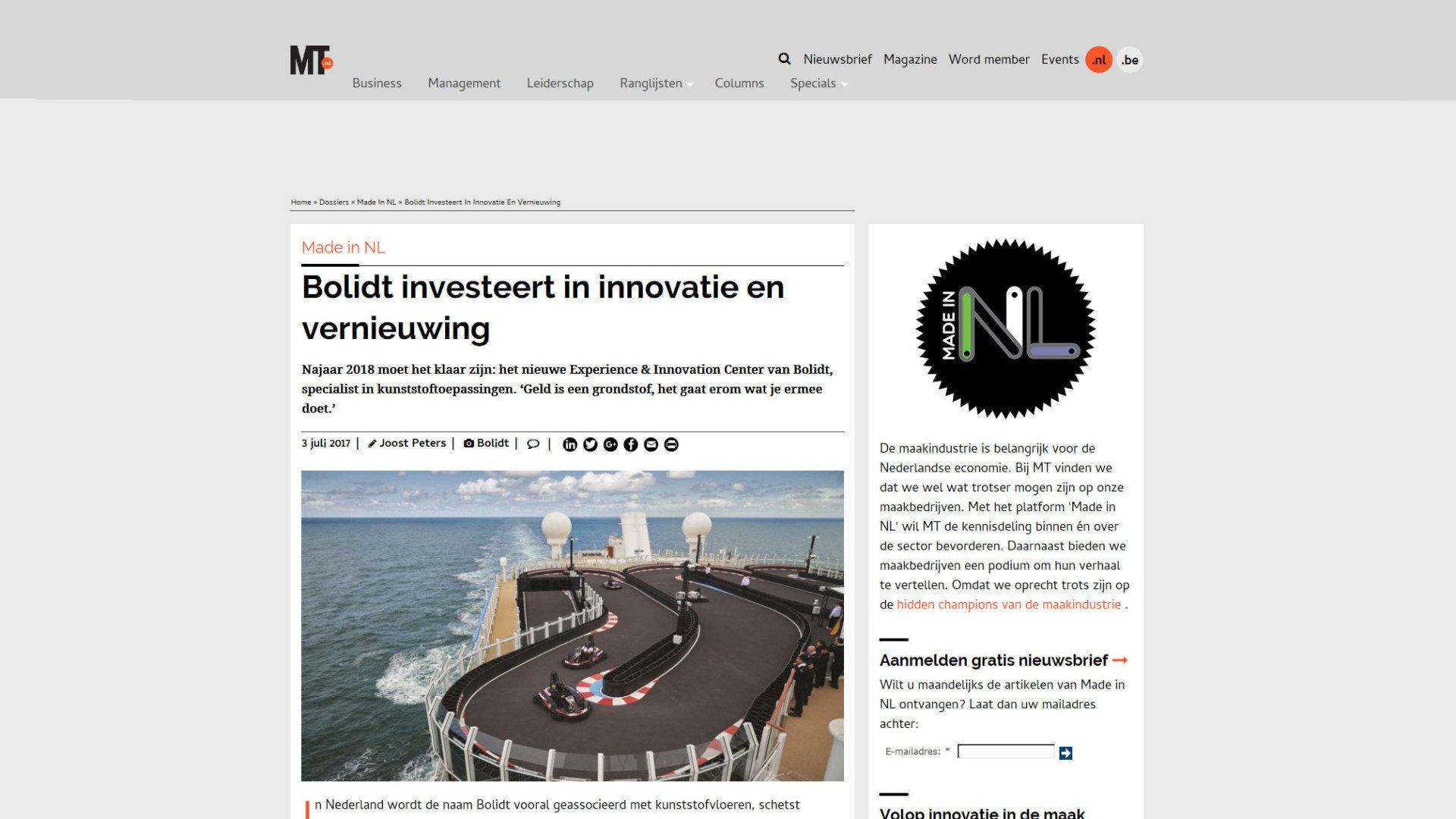 Persartikel AREA78 MT Online - Bolidt investeert in innovatie en vernieuwing