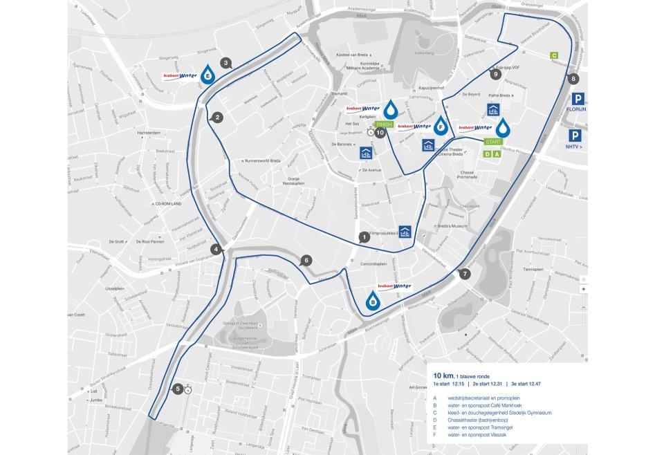 Bredase Singelloop 2018 plattegrond 10km