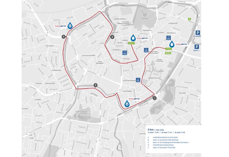 Bredase Singelloop 2018 plattegrond 5km