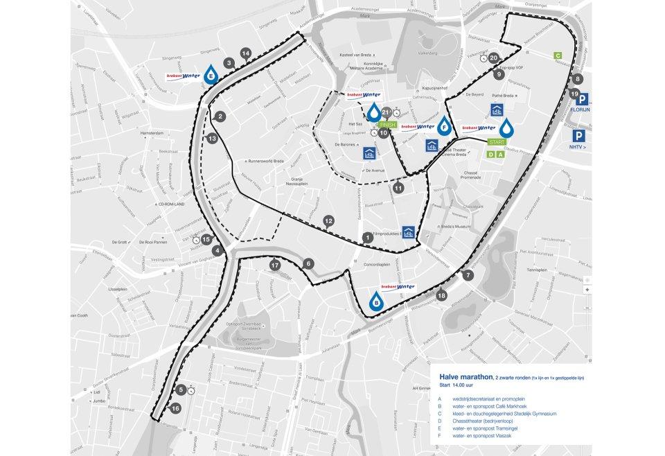 Bredase Singelloop 2018 plattegrond halve marathon
